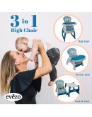 Evezo Merly Convertible Baby High Chair & Play Table 3 in 1 (625-2)